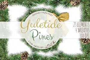 Yuletide Pine Watercolor Clip Art