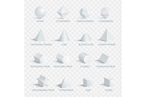Geometric 3D Shapes with Names Vector Illustration