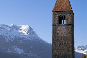Church tower in lake Reschen