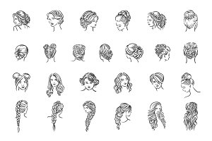 Woman hairstyle set