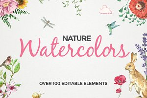100+ Editable Watercolor Elements