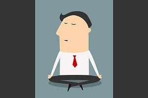 Cartoon meditating businessman