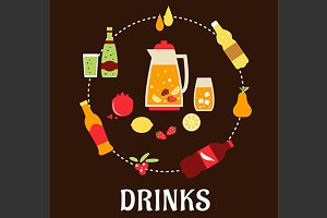 Beverage, juice and drink flat icons
