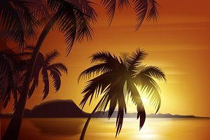Orange tropical sunset
