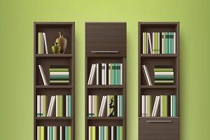 Brown wooden bookcases