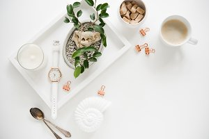 Stylish white table top