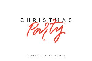 Text Party Christmas. Xmas hand drawn calligraphy lettering