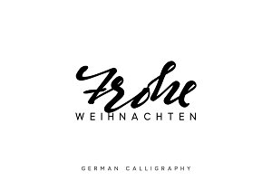 German text Frohe Weihnachten. Merry Christmas hand drawn calligraphy lettering