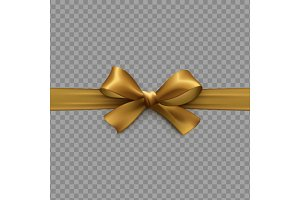 Golden bow on ribbon isolated with transparent background
