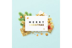 Merry Christmas design greeting card. Xmas festive background.