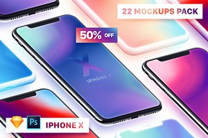 22 iPhone X Mockups (PSD, Sketch)