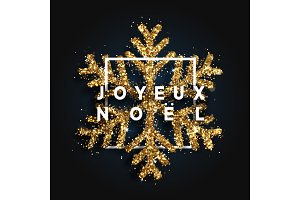 French text Joyeux Noel. Christmas background with shining snowflakes in square frame.