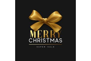 Christmas banner, poster, logo. Luxury gold lettering Merry Christmas. Xmas greeting card design. Background golden ribbon bow