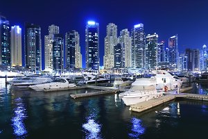 Marina with luxury yachts