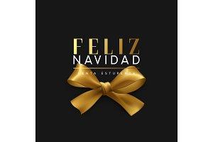 Christmas banner, poster, logo. Luxury gold lettering Spanish text Feliz Navidad.