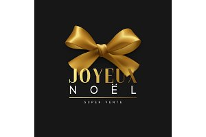 Christmas banner, poster, logo. Luxury gold lettering French text Joyeux Noel.