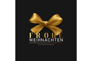 Christmas banner, poster, logo. Luxury gold lettering German text Frohe Weihnachten.