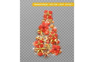 Vector isolated on a transparent background, creative composition in shape Xmas tree, with elegant stars and baubles balls, boxes gif