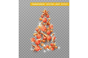 Vector isolated on a transparent background, creative composition in shape Xmas tree, with elegant stars and baubles balls