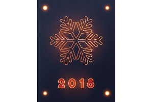 Neon lights design, Merry Christmas and Happy New Year.