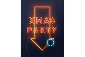 Neon lights design. Xmas party background, Christmas retro card, vector banner