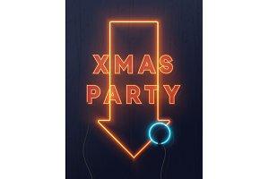 Neon lights design. Xmas party background, Christmas retro card, vector banner
