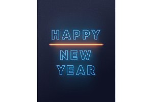 Neon lights design, Happy New Year.