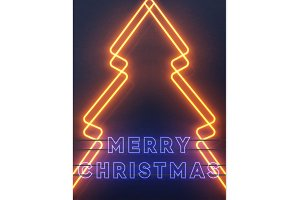 Neon lights design, Merry Christmas.