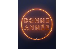 Neon lights design, French Bonne Annee.