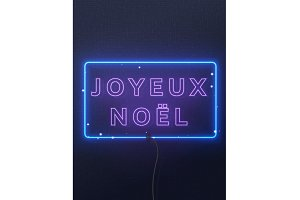Neon lights design, French Joyeux Noel.