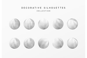 Disco balls or round baubles silver color. Vector illustration