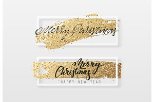 Merry Christmas and Happy New Year greeting card with gold glitter.