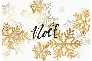 Christmas background with shining gold snowflakes.