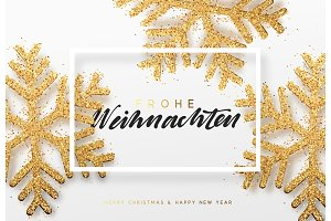Frohe Weihnachten. Xmas background with shining golden snowflakes.