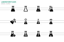 Laboratory flask icons on white