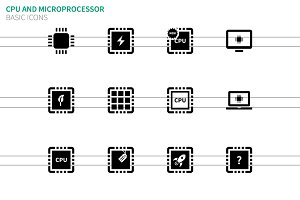 CPU and microprocessor icons