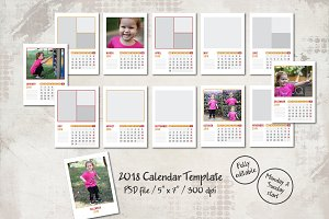 2018 Calendar Template (5x7)