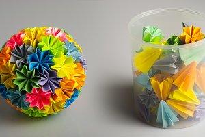 Origami kusudama rainbow