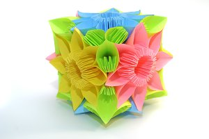 "Origami kusudama ""Blue, yellow, pink flower"""