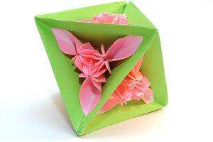 "Origami kusudama ""triangle pink flower"""
