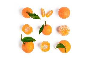 Christmas mandarin or tangerines seamless pattern