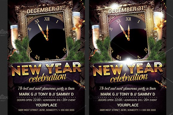 new year party flyer template flyers