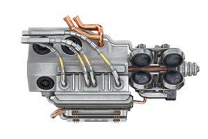 Sci-fi futuristic motor, side view