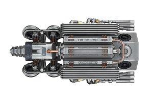 Sci-fi motor steel, bottom view