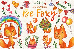Be Foxy watercolor illustrations set