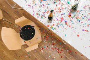 Confetti everywhere in the office after the party