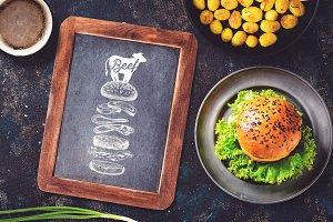 Chalkboard Burger Menu Mock-up #1