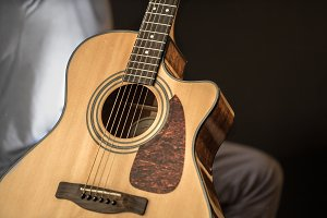 acoustic guitar closeup with copy space