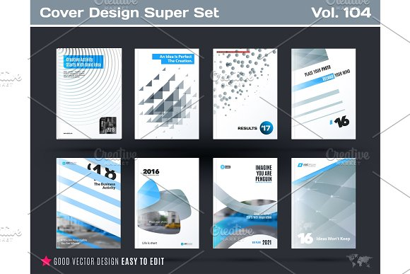 Set Of Design Of Business Vector Template Brochure Abstract Annual Report Cover