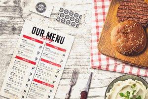 Burger Bar Menu & B-card Mock-up #1
